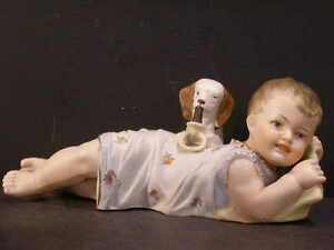 19c Heubach Porcelain Bisque Piano Baby Figurine Puppy Dog Rattle Teething Ring