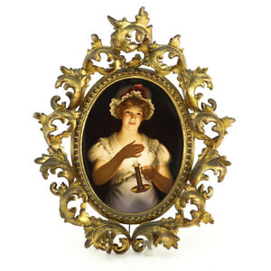 Antique Kpm Porcelain Plaque Portrait Of A Young Girl In A Rococo Style