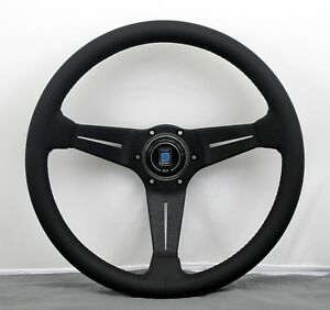 Nardi Steering Wheel Deep Corn 350mm Black Leather Black Stitching Classic Horn