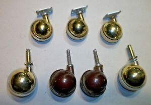 Mixed Vintage Ball Casters Metal Plastic 2 Shepards 5 Others Brass Steampunk