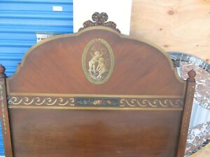 Fantastic Pair Of Antique French Hand Painted Cupid Twin Headboards