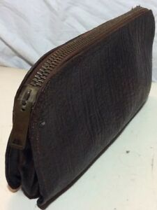 Rare 1900 S Vintage Envelope Clutch Leather Zipper Money Doctor Bag Expedition