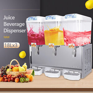 Commercial 18l 3 Tank Frozen Juice Beverage Dispenser Fruit Ice Tea Cold Drink