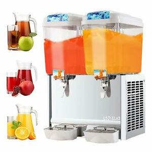 Commercial 18l 2 Tank Frozen Juice Beverage Dispenser Fruit Ice Tea Cold Drink