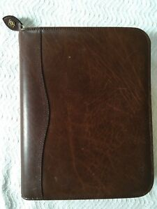 Day timer Genuine Leather Personal Daily Planner Organizer Brown Zipper Unsued