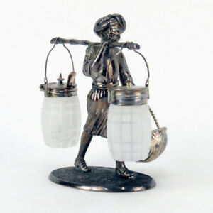 Antique Silverplate And Art Glass Figural Nubian Condiment Server