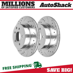 Rear Drilled Slotted Performance Rotors Pair 2 For 08 2014 Nissan Rogue 980113