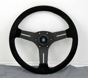 Nardi Competition Steering Wheel 330mm Black Suede With Red Stitching Type A Hb