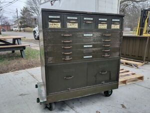 Vintage Shaw Walker Library Card Cabinet 48 Drawers