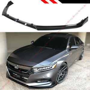 For 18 2020 Honda Accord 10th Gen Sport Jdm Glossy Blk Front Bumper Lip Splitter