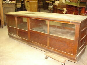 Antique Oak General Store 8 Counter With Showcase With Sliding Doors L K