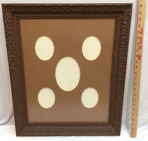 Picture Frame Antique Wood Wooden Painted Brown Glass Front Oval Matting 24x20