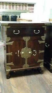 Antique Hand Crafted Korean Asian Wooden Chest W Beautiful Tooled Brass Accents