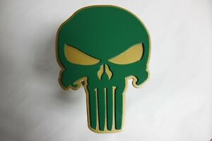 Gtg Green Gold Punisher Skull Hitch Cover Plug For Trailer Ball Receiver Towing