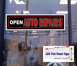 Led Sign Auto Repairs Open 48x12 Window Sign New Led Flat Panel Design Neon Alte