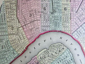 New Orleans City Plan 1887 Mitchell Bradley Large Old Map Hand Color