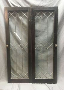 Pair Leaded Glass Diamond Casement Door Bookshelf Cabinet 16x48 Vtg Old 130 18c