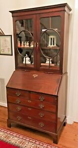 Antique 18th Century George Iii Mahogany Bureau Bookcase Shipping Available
