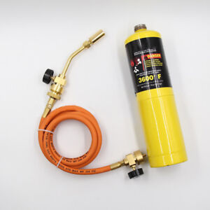 Mapp Gas Hand Torch Self Ignition Turbo Torch hose Welding Plumbing Propane H1