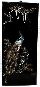 Signed Black Lacquer Japanese Panel Of Peacock In Abalone Paint Vintage