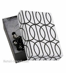 Jewelry Boxes 100 Black White Contemporary Halo Cotton 3 1 16 X 2 1 8 X 1 32