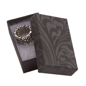 Jewelry Boxes 100 Black Gray Elegant Print Cotton Filled 2 1 2 X 1 1 2 X 7 8
