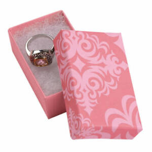 Jewelry Boxes 100 Pink Damask 2 1 2 X 1 1 2 X 7 8 Print Cotton Filled 21