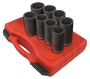 Sunex Tool 2835 12 Point 8 Piece Spindle And Axle Socket Set