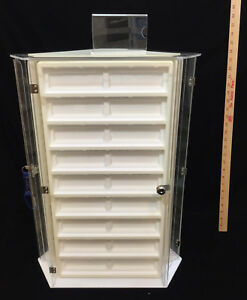 Jewelry Display Case Revolving 3 Sided Locking Key Acrylic 24 3 8 Tall 27 Slots
