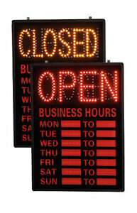 Open Closed Led Sign With Hours 16 X 23 Retail Business Illuminated Lighted