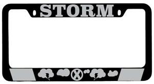 Storm Black Metal License Plate Frame Auto Marvel