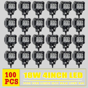 100pcs 4inch 18w Led Work Lights Pods Spot Offroad Lamp For Atv Jeep Ute Boat Rv