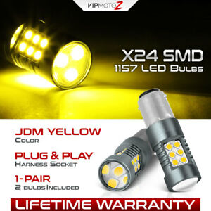 2x 1157 Bay15d Jdm Yellow Led Parking Drl Signal Rear Stop Brake Light Bulbs