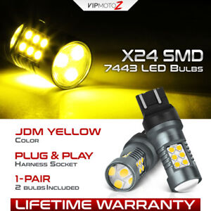 Jdm Yellow 7443 7440 T20 3000k Led Blinker Parking Turn Signal Light Bulbs Set