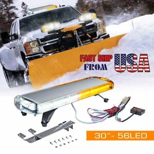 30 56 Led Emergency Beacon Hazard Flasher Strobe Light Bar Amber white Tow Snow