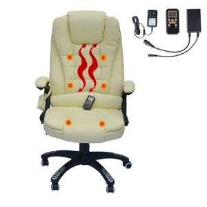 Heated Office Massage Chair Faux Leather Home Office Computer Desk Chair