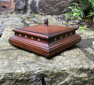 Victorian Black Walnut Sewing Thread Spool Holder Box W Cover Bone Inserts C1875