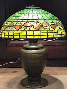 Tiffany Studios Lamp L C T 1900s Acorn Favrile Glass Bronze Base 60k Value