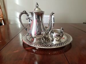 Silverplate Coffee Pot Sugar And Milk Holder With Tray