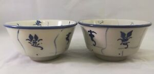 Chinese Antique Blue And White Porcelain Bowl One Pair