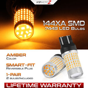 Brightest Amber 7443 7444 T20 Smd Led Turn Signal Lamp Parking Drl Light Bulbs