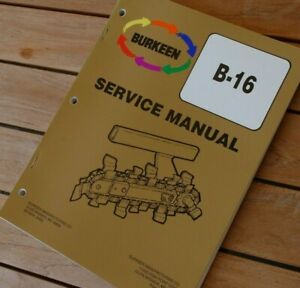 Burkeen B16 Trencher Ditcher Plow Service Manual Repair Shop Maintenance Book 16