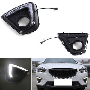 For Mazda Cx 5 2012 2016 Auto Front Drl Black Cover White Daytime Running Lights