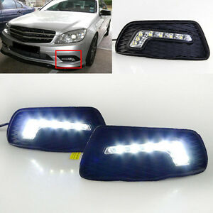 1pair White Drl Daytime Running Lights Led For Mercedes Benz C class 2009 2010