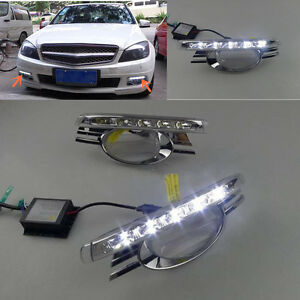 2x White Drl Daytime Running Lights Led Lamp For Mercedes Benz C class 2009 2011
