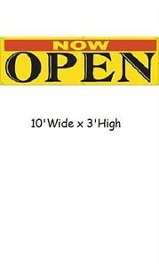 Now Open Banner 10 W X 3 H Sign Advertising Outdoor Rip resistant Yellow Black
