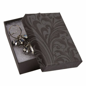 Jewelry Boxes 50 Black Gray 3 1 16 X 2 1 8 X 1 Elegant Cotton Filled 31