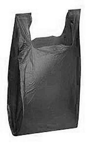 1000 Black Plastic Shopping Grocery Bags Retail Grocery T shirt 11 X 6 X 21