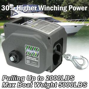 Boat Winch 12v Electric Manual 2000lbs Pulling Trailer Heavy Duty 20ft Cable Usa