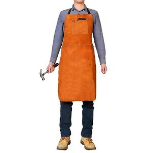 Leather Welding Apron Woodworking Construction Blacksmith Professional Full Bbq